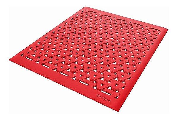 Tapete De Pia Escorredor Louças Copos Talheres Grade Protetora Cozinha - Crippa - Vermelho