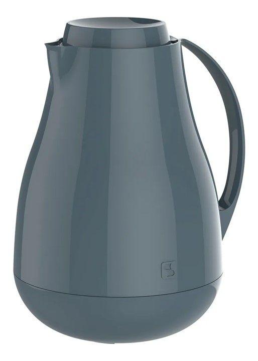 Bule Térmico Sonetto 1 Litro Para Café Leite Chá Água Ampola Vidro - Soprano - Cinza
