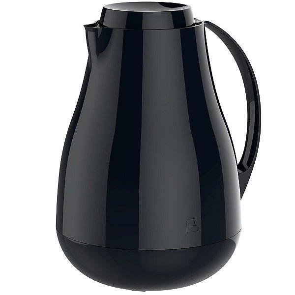 Bule Térmico Sonetto 1 Litro Para Café Leite Chá Água Ampola Vidro - Soprano - Preto