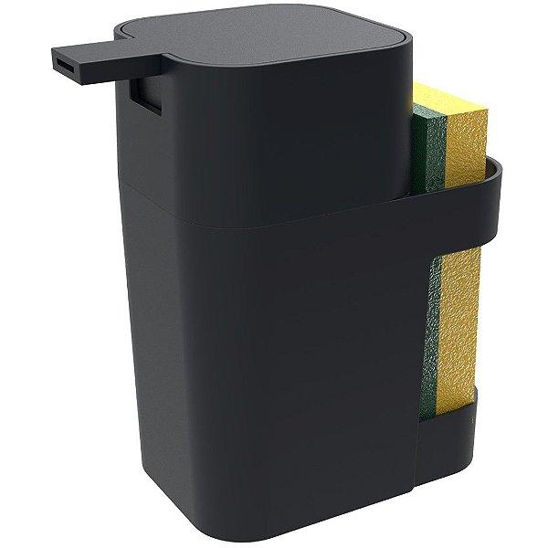 Dispenser Porta Detergente Esponja Sabão Liquido 600ml De Pia Cozinha - Soprano - Preto