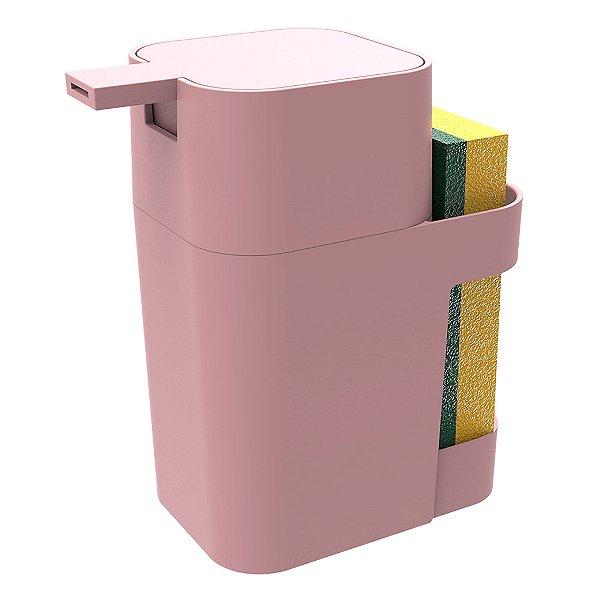 Dispenser Porta Detergente Esponja Sabão Liquido 600ml De Pia Cozinha - Soprano - Rosa