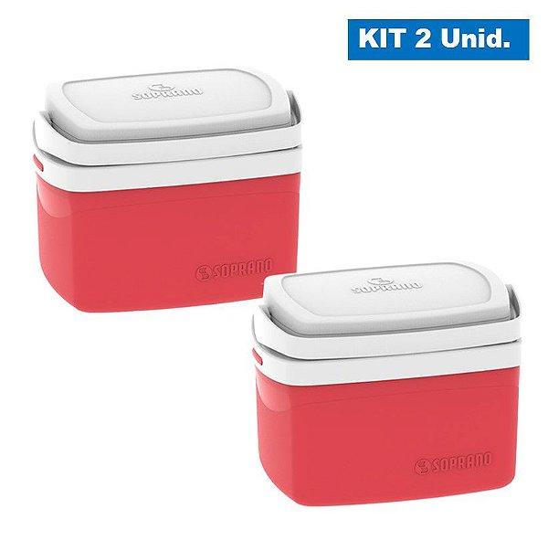 Kit 2 Caixa Térmica 5 Litros Cooler Bebidas Alimentos Praia Camping Piscina - Soprano - Vermelho
