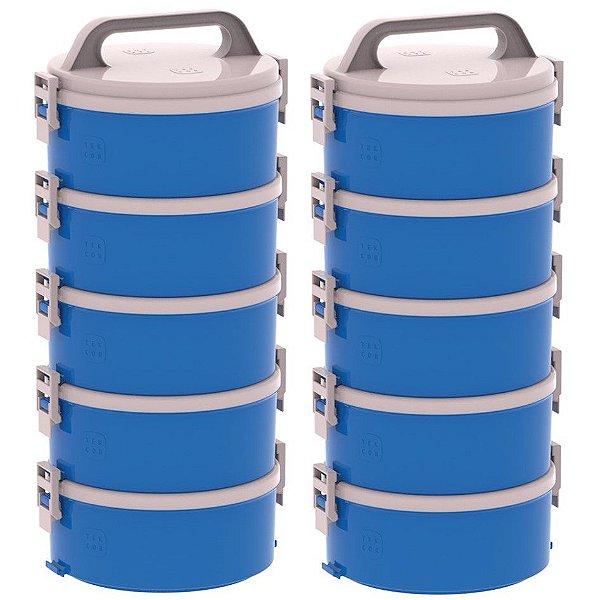 Kit 2 Conjunto 5 Marmitas Térmica Termopratos 1,5l Tekcor - Soprano - Azul
