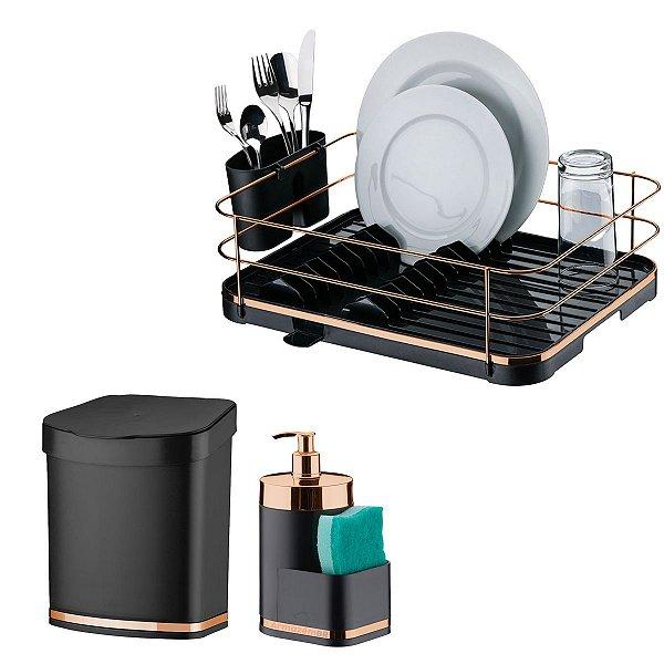 Kit Lixeira 2,5L Escorredor Louça Dispenser Porta Detergente Cozinha Preto Rose - Future