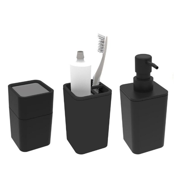 Kit Banheiro Dispenser Sabonete + Porta Escovas + Suporte Cotonete Algodão - Soprano - Preto