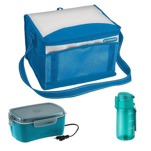 Kit Bolsa Térmica 12 L + Marmita Elétrica + Squeeze 550ml Refeição - Soprano - Azul