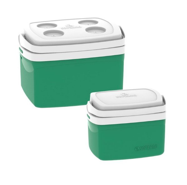 Kit Caixa Térmica 12 + 5 Litros Cooler Alimentos Bebidas Praia Camping - Soprano - Verde