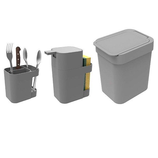 Kit Cozinha Dispenser Porta Detergente + Lixeira 2,5L + Suporte Talheres - Soprano - Cinza