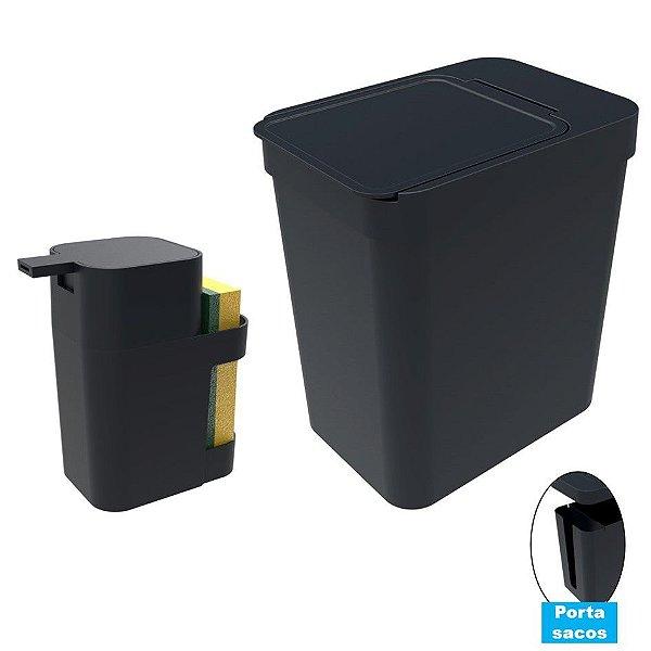 Kit Cozinha Dispenser Porta Detergente + Lixeira 5 Litros Porta Saco Plástico - Soprano - Preto