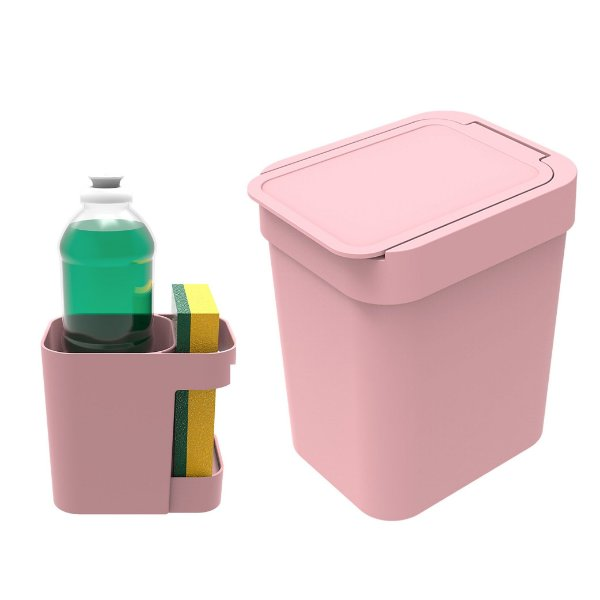 Kit Cozinha Organizador De Pia Porta Detergente + Lixeira 2,5 Litros - Soprano - Rosa
