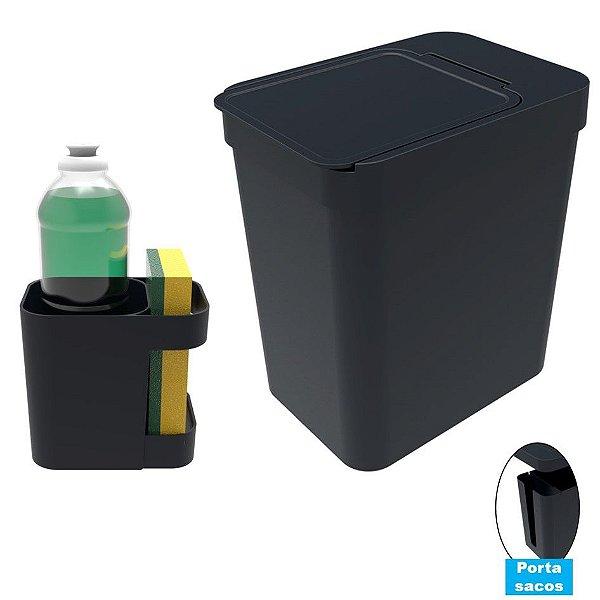 Kit Cozinha Organizador Pia Porta Detergente + Lixeira 5 Litros Porta Saco Plástico - Soprano - Preto