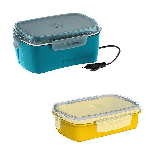 Kit Marmita Elétrica 1,2 Litros + 1 Pote Refil Avulso Refeição Lanche - Soprano - Marmita Azul/Pote Amarelo
