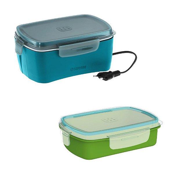 Kit Marmita Elétrica 1,2 Litros + 1 Pote Refil Avulso Refeição Lanche - Soprano - Marmita Azul/Pote Verde