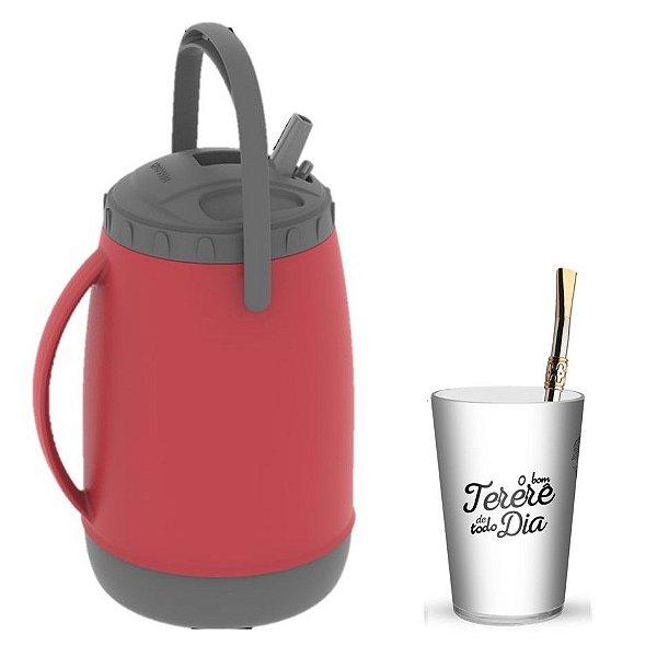 Kit Tererê Copo Plástico Bc + Bomba Niquelado 19cm + Garrafa Térmica 2,5L - Soprano - Vermelho