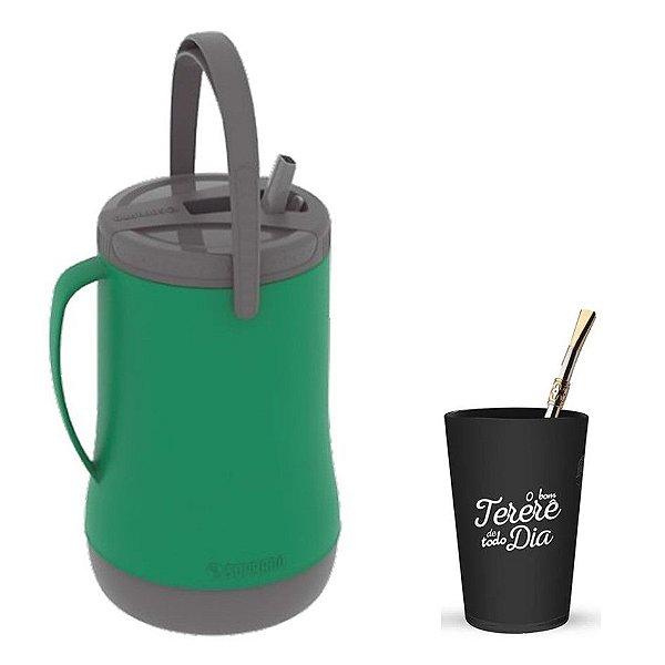 Kit Tererê Garrafa Térmica 2,5l + Copo Plástico + Bomba 19cm Niquelado - Soprano - Verde/Preto