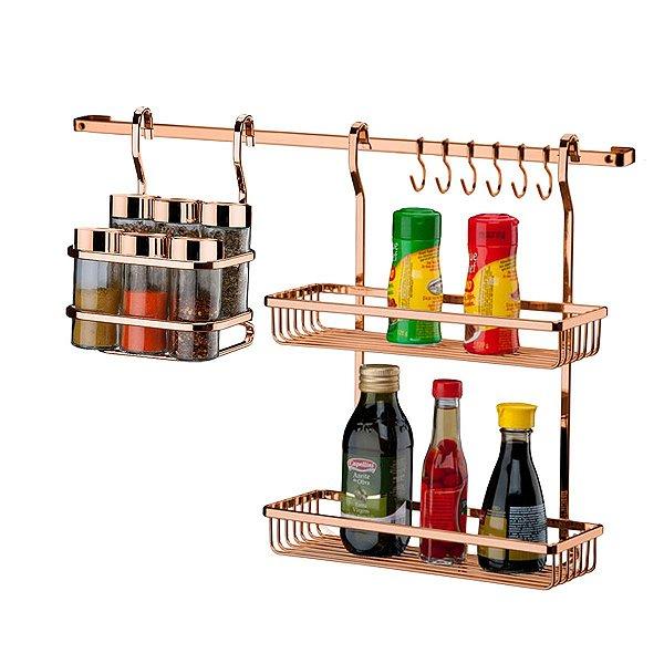 Kit Suportes Porta Tempero Utensílios Condimentos Com Barra de Parede Cozinha Cobre Rose Gold - Future