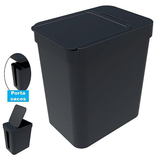 Lixeira 5 Litros Cesto De Lixo Com Porta Saco Plástico Cozinha Banheiro - Soprano - Preto