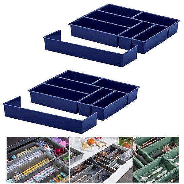 Kit 2 Organizador De Gaveta Divisor Porta Talheres Com Extensor 40x33x6,5cm - Paramount - Azul Marinho