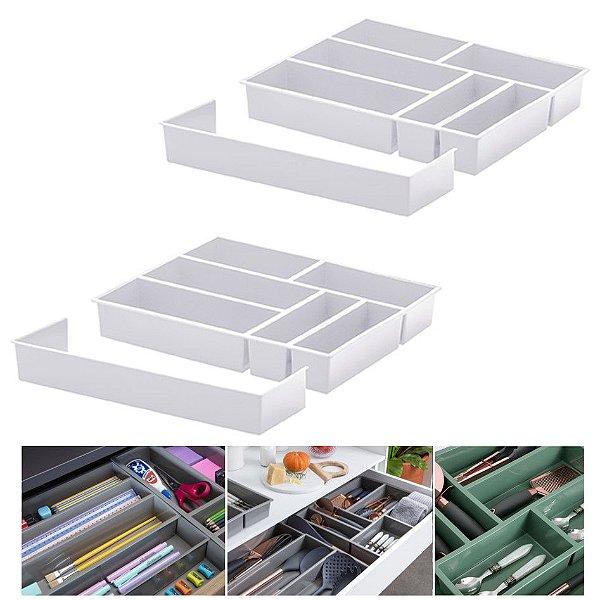 Kit 2 Organizador De Gaveta Divisor Porta Talheres Com Extensor 40x33x6,5cm - Paramount - Branco