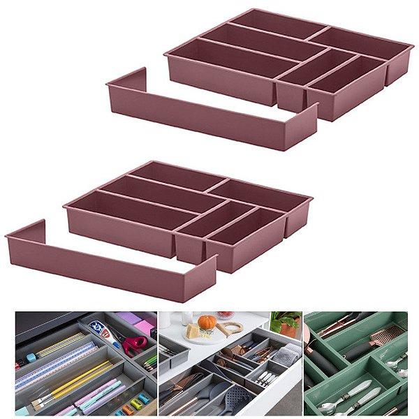 Kit 2 Organizador De Gaveta Divisor Porta Talheres Com Extensor 40x33x6,5cm - Paramount - Rosa