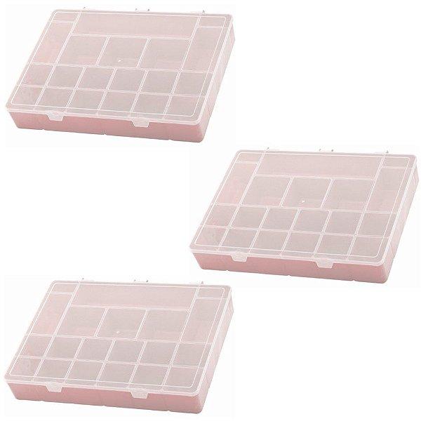 Kit 3 Box Organizador GG Com Divisórias Maleta Caixa - Paramount - Rosa