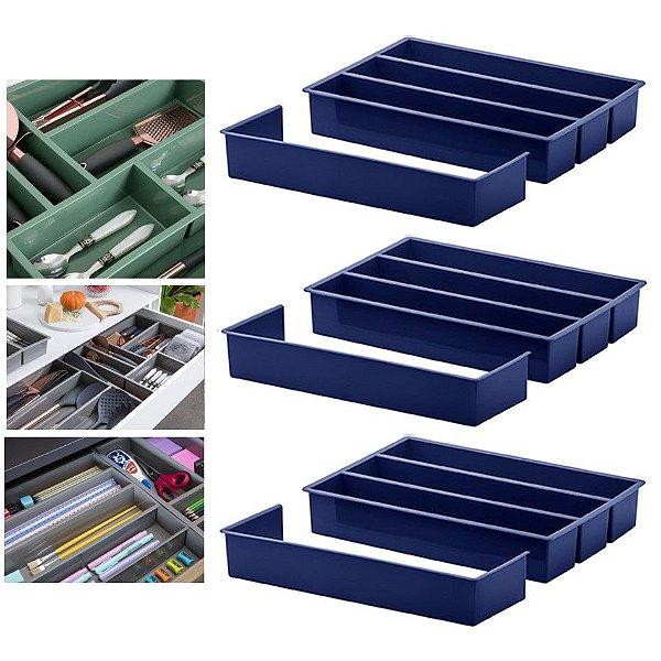 KIT 3 Organizador Divisor Gaveta Porta Utensílio Talheres Extensor 35x25x6,5cm - Paramount - Azul Marinho