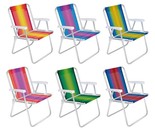 Kit 6 Cadeira Alumínio Alta Listrada Camping Praia Piscina  Mor - Sortido