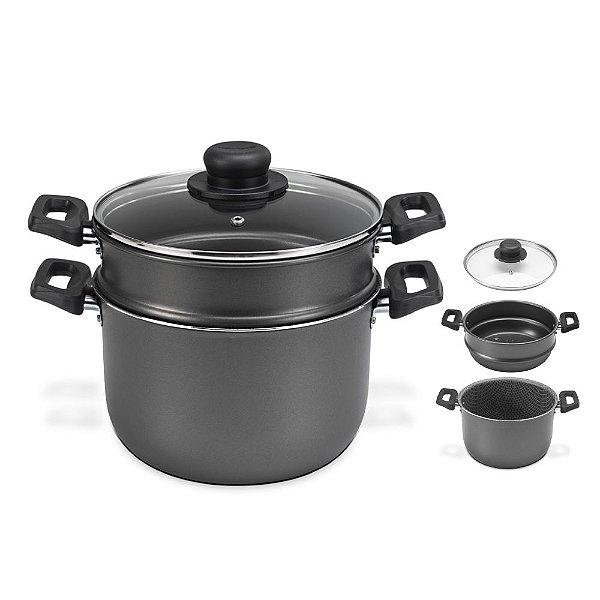 Panela Cuscuzeira Cozi Vapor 4l Alumínio Antiaderente Cozinha - 54320 Multiflon - Chumbo