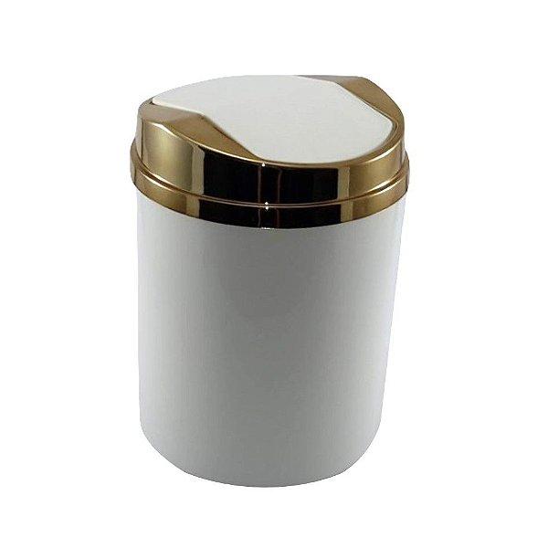 Lixeira 5 Litros Plástico Tampa Basculante Metalizada Dourado Cozinha Banheiro - RDP - Branco
