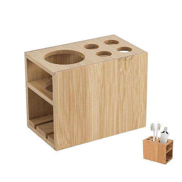 Porta Escova De Dente Bambu Creme Dental Pia Bancada Banheiro Ecokitchen - BM20288 Mimo