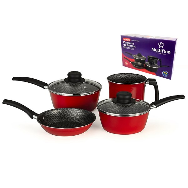 Conjunto Jogo 4 Peças Panela Fervedor Frigideira Alumínio Antiaderente Cozinha - 40009 Multiflon - Vermelho