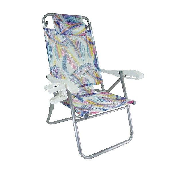 Cadeira Up Line Aquarela Reclinável 5 Posições Alumínio Com Almofada Porta Copos Praia Camping - 49 Zaka - Aquarela