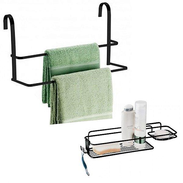 Kit Suporte Prateleira Porta Shampoo Sabonete Toalheiro de Box Aramado Banheiro Preto Fosco - Future
