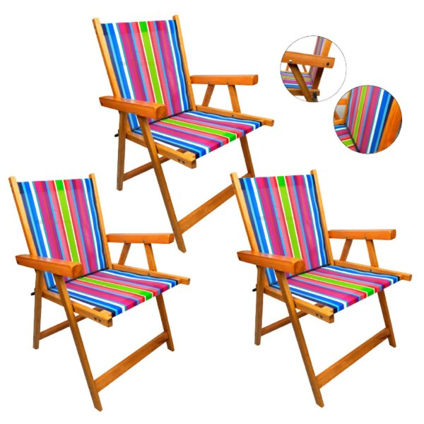 Kit 3 Cadeira De Madeira Dobrável Para Lazer Jardim Praia Piscina Camping - AMZ - Rosa