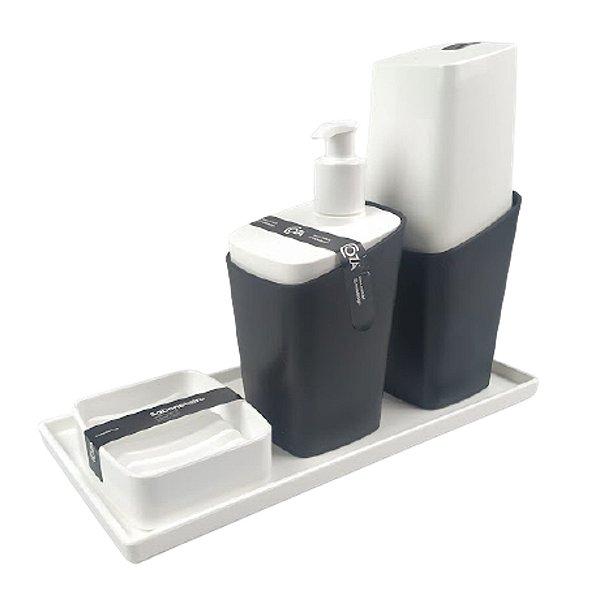Kit Dispenser Sabonete Líquido + Porta Escova Creme Dental + Saboneteira Square + Bandeja Banheiro - Coza