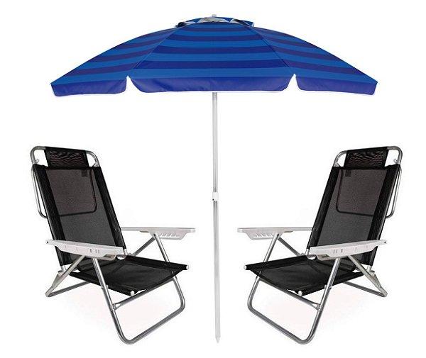 Kit Praia Guarda Sol Alumínio Articulado 2m Cadeira Reclinável Summer 6 Posições - Mor - Preto