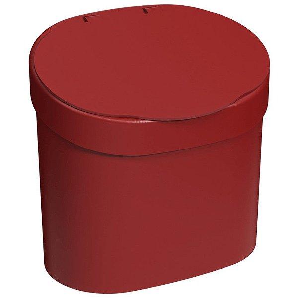 Lixeira 4L Cesto De Lixo Com Tampa Para Pia Cozinha - 10902 Coza - Vermelho