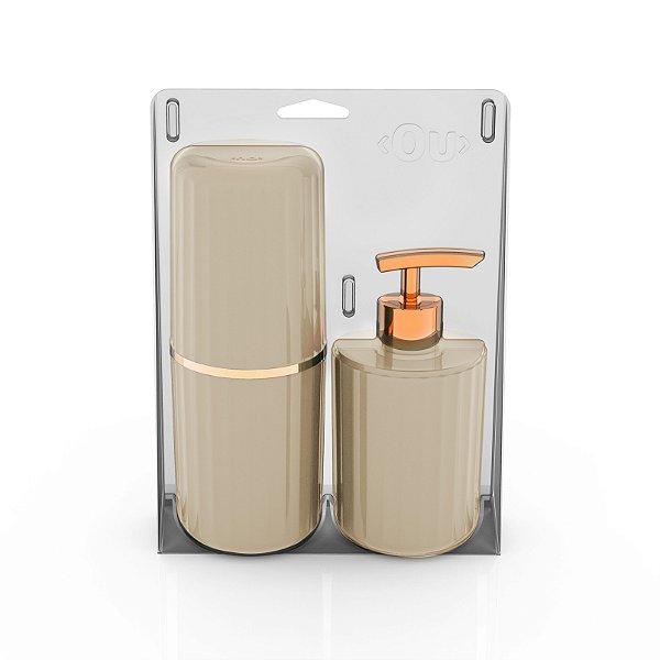 Conjunto Banheiro 2 Peças Portas Escovas + Dispenser Sabonete Líquido Groove Ou - Bege