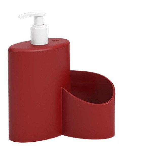 Dispenser Porta Detergente Rodinho 600ml Cozinha Pia Abraço Basic - 10864/0465 Coza - Vermelho