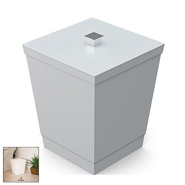 Lixeira 6,5 Litros Quadrada Tampa Com Puxador Banheiro Cozinha Bancada - 1446 Stolf