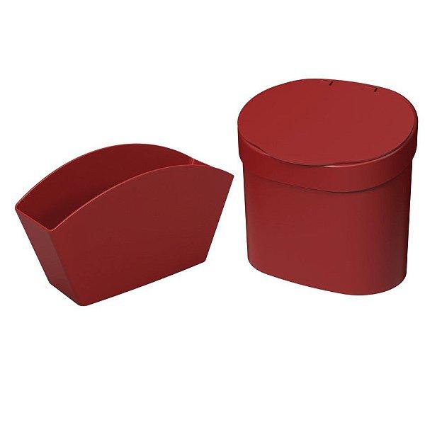 Kit Lixeira 4L Com Tampa Escorredor Porta Talheres Pia Cozinha Basic Coza - Vermelho