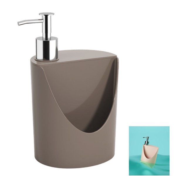 Dispenser Porta Detergente Suporte Esponja Pia Cozinha R&J Basic - 10837 Coza - Cinza
