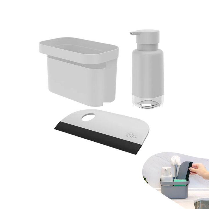 Kit Organizador Pia Dispenser Porta Detergente Rodo Compacto Bancada Cozinha -Ou