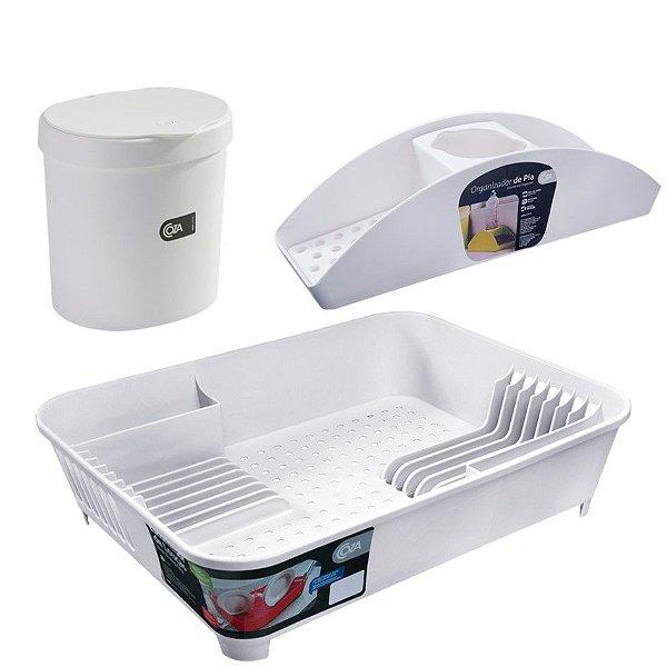 Kit Lixeira 2,5L Organizador De Pia Porta Detergente Escorredor De Louça Basic  Branco - Coza