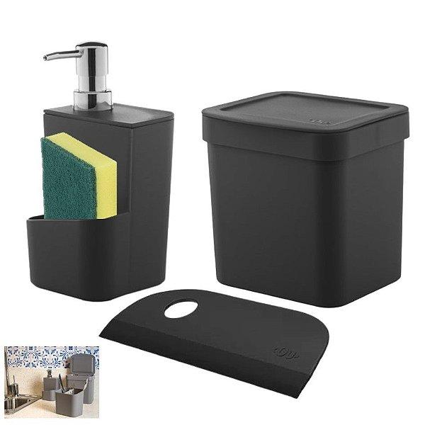 Kit Lixeira 2,5l Dispenser Porta Detergente Rodo Compacto Bancada Pia Cozinha - Ou
