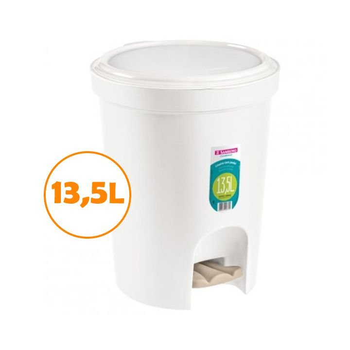 Lixeira 13,5l Plástica Tampa Com Pedal Cesto Lixo Cozinha Banheiro - SR275/01 Sanremo