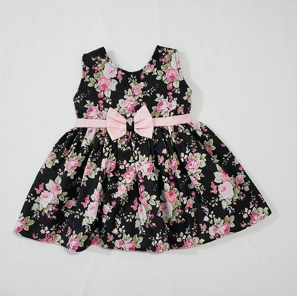 Vestido Bebê Tricoline Preto Floral ref. 525