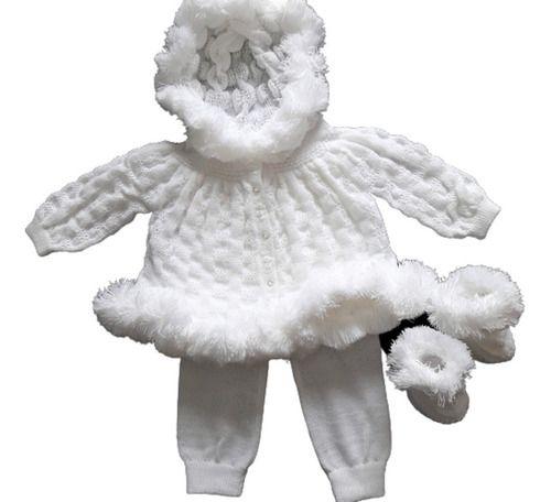 Casaco De Bebê Esquimó Calça E Botinha Bordada Ref. 111