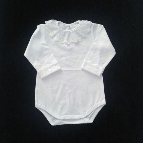 Body Bebê Menina Gola Punho Renda Bordado Perolinhas Ref.262