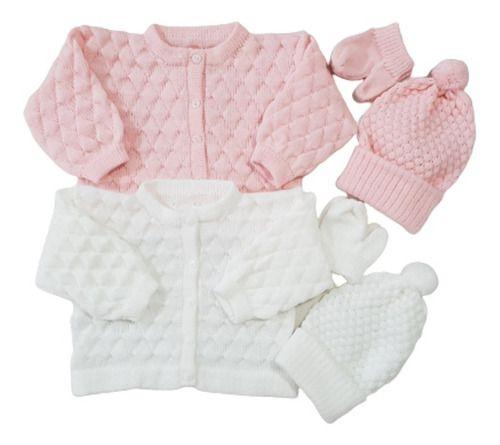 2 Casacos 2 Toucas 2 Luvas Trico Lã Bebê Ele/ Ela   Ref. 117